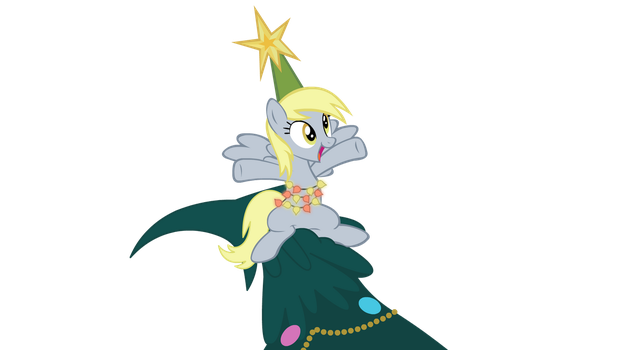 Derpy On A Hearth's Warming Tree by YoshiGreenwater