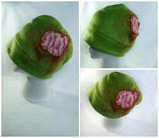 Exposed Zombie Brain Hat with Dried Blood by kawaiibuddies