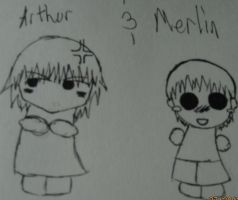 Merlin and Arthur Chibis -OLD- by sasori4rock