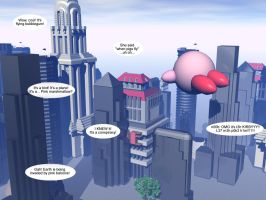 Kirby over the City by lorienelf
