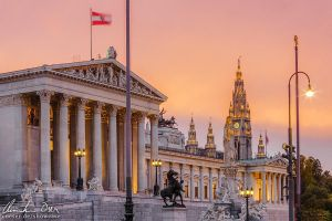 Vienna Parliament and City Hall by Nightline