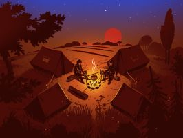 Camping Sunset by Icondesire