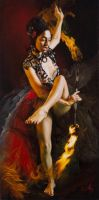 Playing with Fire, 18x36 inches, oil on canvas by alexandramanukyan
