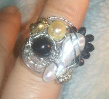 Onyx, Pearl, and Swarovski Stainless Steel Ring by BESTGEM4U