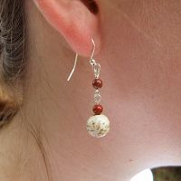 Red and Cream Jasper Earrings by Cillana