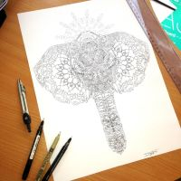 Elephant Line Pen Work by AtomiccircuS