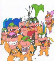 The Koopalings and Bowser Jr. by Dimentio0