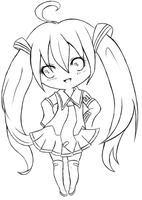 Miku lineart by Some-Wench