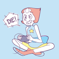 Pearl playing Video Game by Gilzean