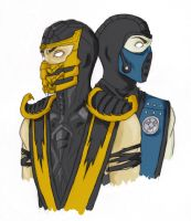 Scorpion and Sub-Zero close-up by ProtoStrife