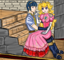 Marth and Peach by LadyNoise