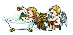 Wings washing time - Steve and Clint by kingbirdkathy