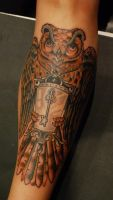 Neo traditional owl by Alex Roze by HammersmithTattoo