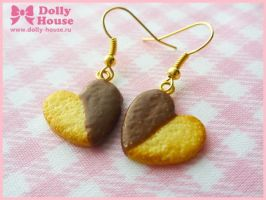 Choco Heart Cookies Earrings by Dolly House by SweetDollyHouse