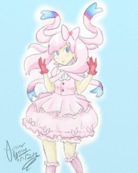 Sylveon girl by CaramelMoelleux