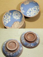 Snowflake ring bowls sgraffito work in progress by firenfluxhandmade