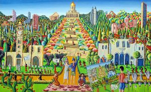 naive painting jewish and arab live together peace by shharc