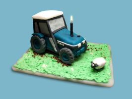Tractor and Sheep Cake by InvisibleSnow