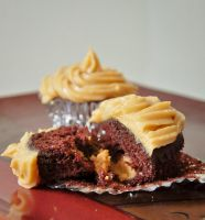 Chocolate Peanut butter cupcakes by rawrkaleigh