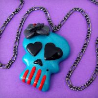 Gothic Lolita Skull -turquoise by beatblack