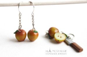 Spring Apples Dangle Earring Jewelry Handmade by LaNostalgie05