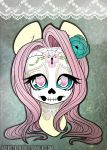 Fluttershy Sugar Skull Mini Print by MonstreNoir