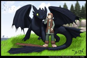 Hiccup 'n' Night fury: Colored by WittNV