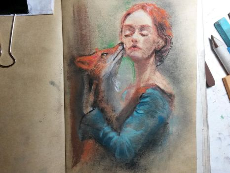Girl with little fox study by CarlyPandy