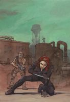 Avengers fanart: Black Widow and Hawkeye in action by astridv