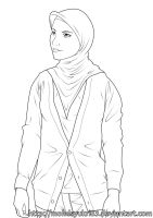 Girl in Tudung Lineart by mohdsyukri83
