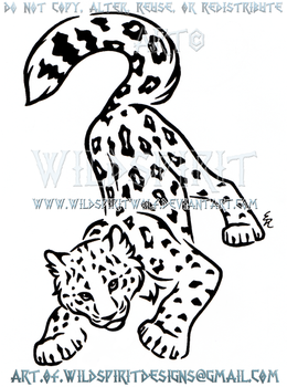 Playful Snow Leopard Cub Design by WildSpiritWolf