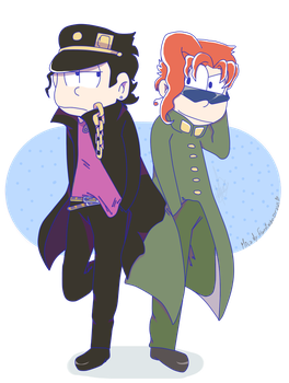 Jotaro And Kakyoin (JJBA X OSOMATSU-SAN) by Hatstache