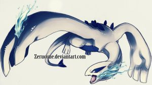 Guardian of the sea- Lugia by Zerucune