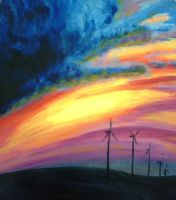 windmills on the horizon by greenmoonart