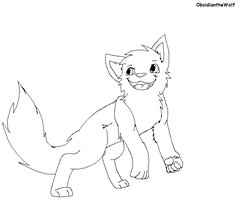 Cat line art ( another version) by Obsidianthewolf