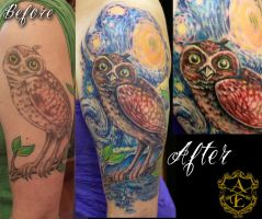 Starry Night Owl Tattoo (Re-Work) by seanspoison