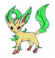 Poke'Mon LEAFEON {Sketched by My Daughter} by Empress-XZarrethTKon