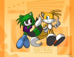 Commission: Tails+Ruby by Tigerfog