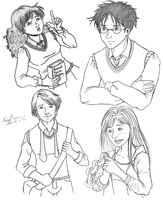 Harry Potter Doodles 1 by CrystallineColey