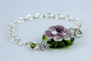 Purple Flower Toggle Clasp Bracelet by michelleaudette