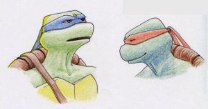 TMNT: Mike and Leo Portraits by GwenIala