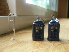 3D Tardis Earrings by Tabitha-Habitat