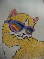 pointilism piece COOL CAT by Sapphireclassified