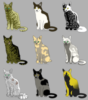 OPEN - Warrior Cat Batch - 3 points each by Gingerpatch-59