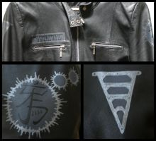 Raven Crow Wings Leather Painted Jacket Details by wraithwitch