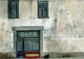 Cafe et chat by tonyhurst