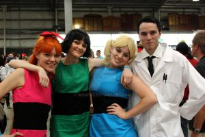 Powerpuff Girls and Professor by ironPaD