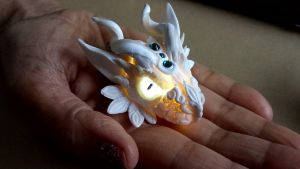 White Dragon Head Pendant with Light by AstridMakosla