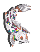 rainbow koi fish drawing by KittyKatAndWolfy