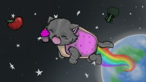 Nyan Cat loves teh Cupcakes c: by CrystalthaFox